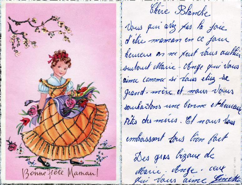 Carte Bonne Fete Fille.Bonne Fete Maman Fille En Robe Orange Chemisier Bleu