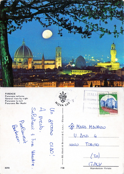 Firenze  - Panorama notturno - Florence la nuit - 1985
