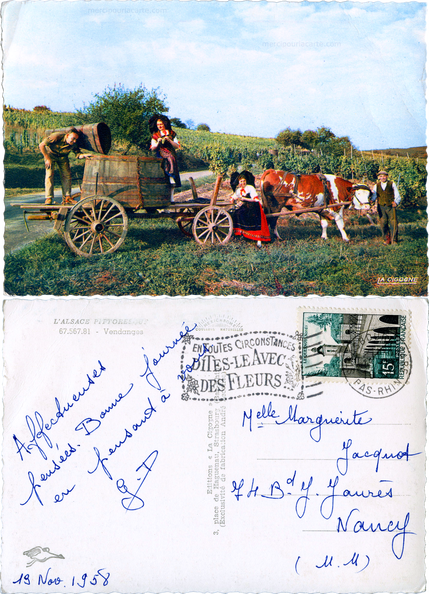 L'Alsace Pittoresque - Vendanges - 65.567.81 Editions 'La Cigogne', Strasbourg - Exclusivité de fabrication André Leconte - Jacquot Nancy 1958 gimp.png