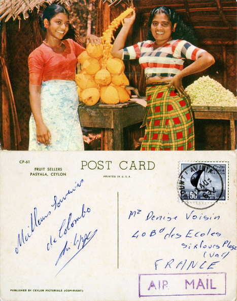 Pasyala, Ceylon - Fruits sellers - CP-61 Ceylon Pictorials - Voisin Mount Lavinia Six-Fours-les-Plages 1963.jpg