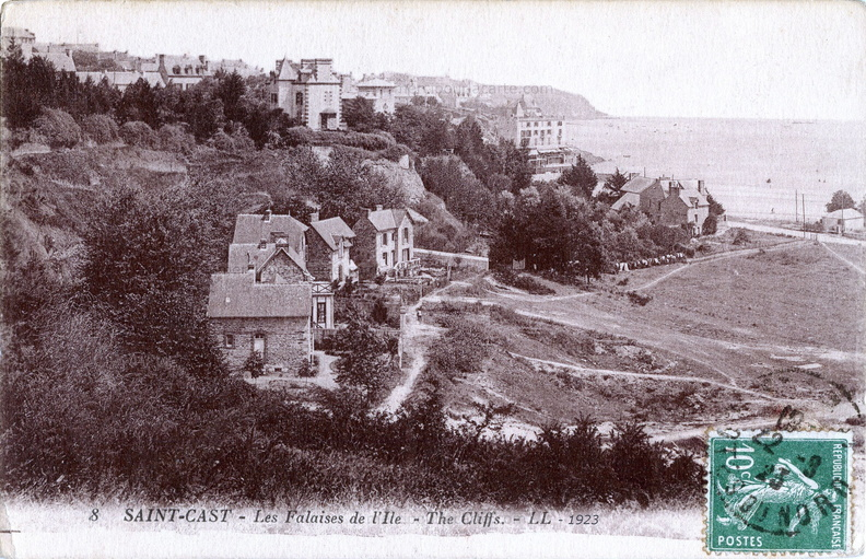 Saint-Cast - Les Falaises de l'Ile - The Cliffs - 8 LL Lévy et Neurdein Réunis, Paris - Cloziot Lesfossé Paris 1923 recto.jpg