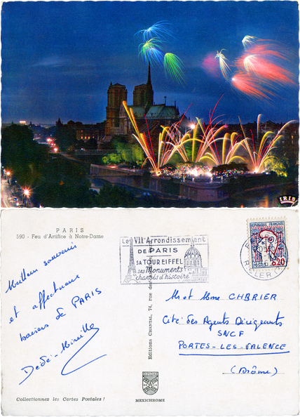 Paris - Feu d'Artifice à Notre-Dame - 590 Editions Chantal, Paris - Chabrier Portes-les-Valences 1962.png