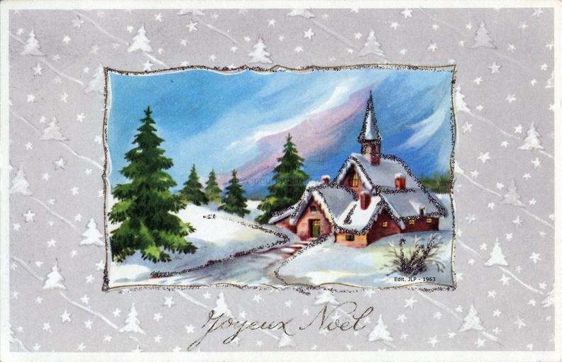 Joyeux Noël   Paysage d'hiver, église et maisons sous la neige