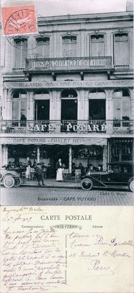 Beauvais - Café Potard - Cliché L. Minoli - Unis France - Imp. Catala Frères, Paris - Deschamps Dondelle Paris 1927 gimp.jpg