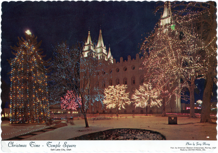 Christmas Time - Temple Square, Salt Lake City, Utah - Illuminations de Noël sur les arbres et les clochers - 1971 - recto